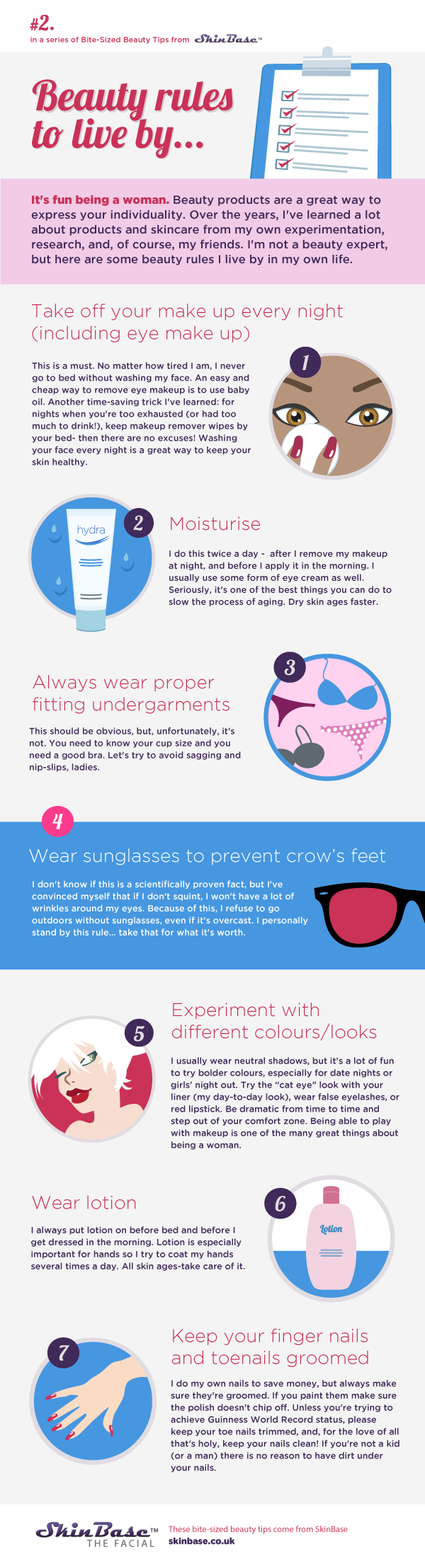 'Beauty Tips to Live By' infographic from SkinBase